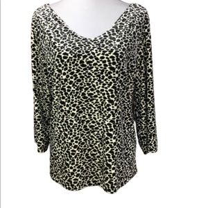 Kathie Lee Leopard Print Blouse Velvety Fabric XL